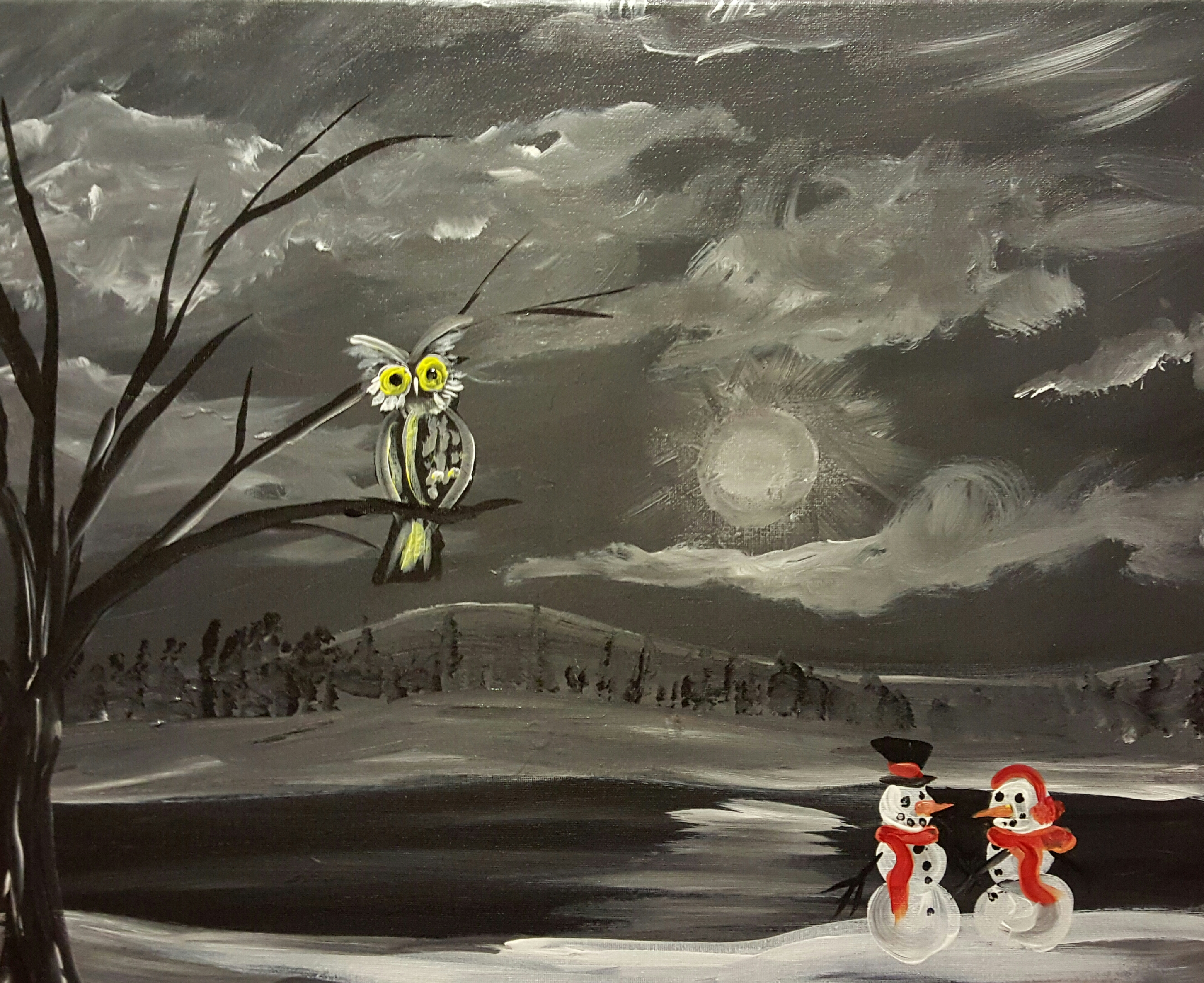 Owl and the snowmen