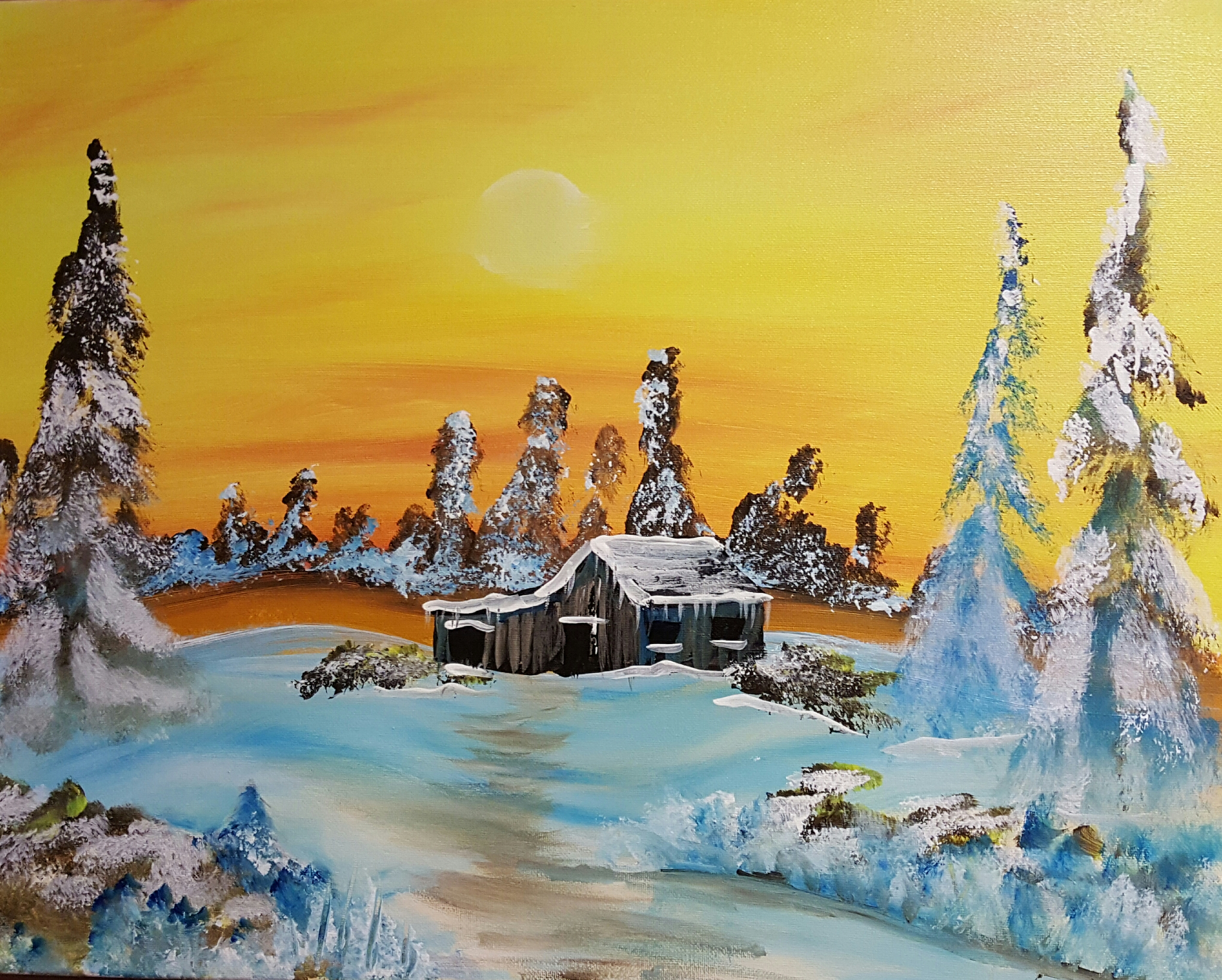 Sunset Cabin Winter