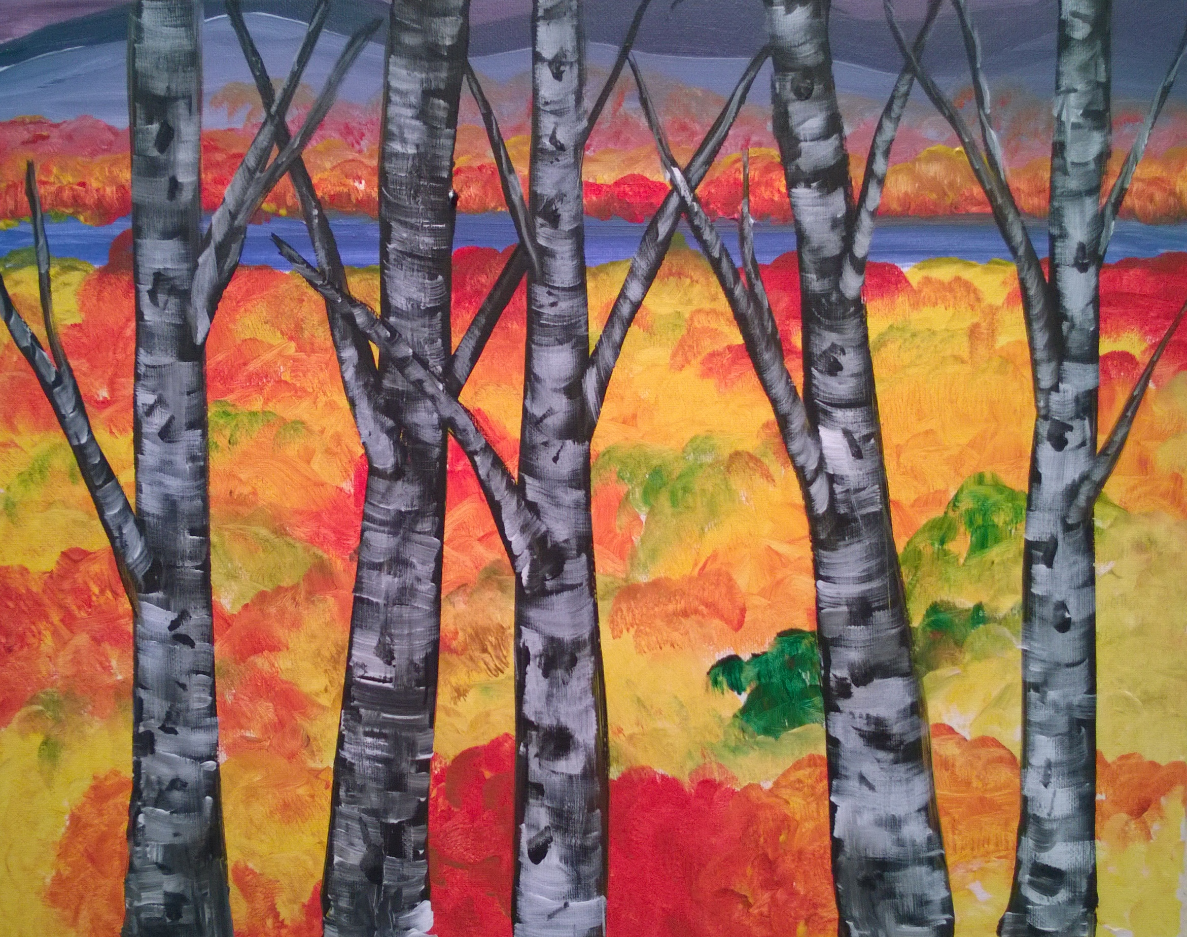 Birch Trees over Fall Lake