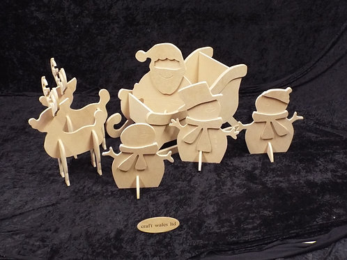 MDF Sleigh & Reindeer Family 620mm