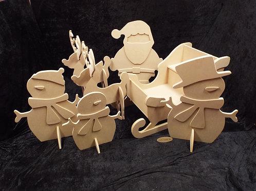 MDF Sleigh, Santa, Snowman family & Reindeer family 1150mm