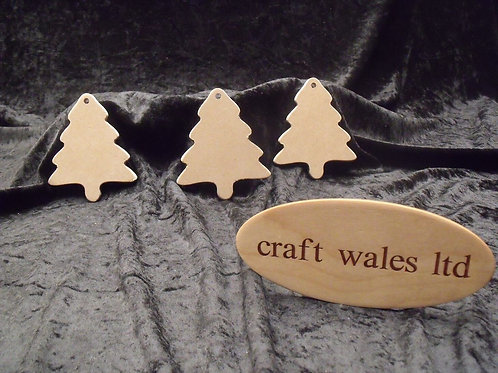 MDF Christmas Tree Hanging Decoration Set of 10