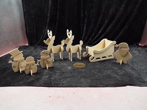 MDF Sleigh, Reindeer, Santa & Snowman Family 445mm