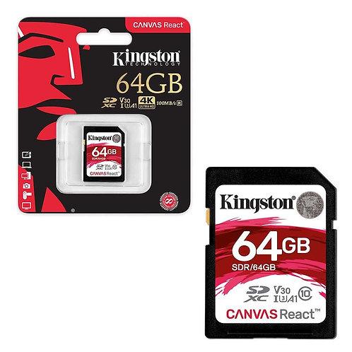 Memoria Kingston SD 64GB 4K clase 10 100MB/s Canvas React