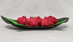 Leaf Bowl with Pomegranates, side view