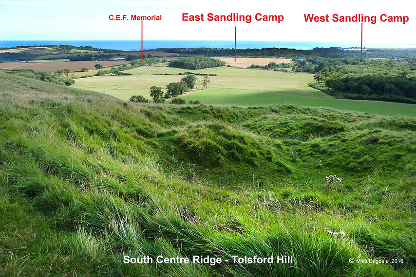 East & West Sandling Camps from Tolsford Hill