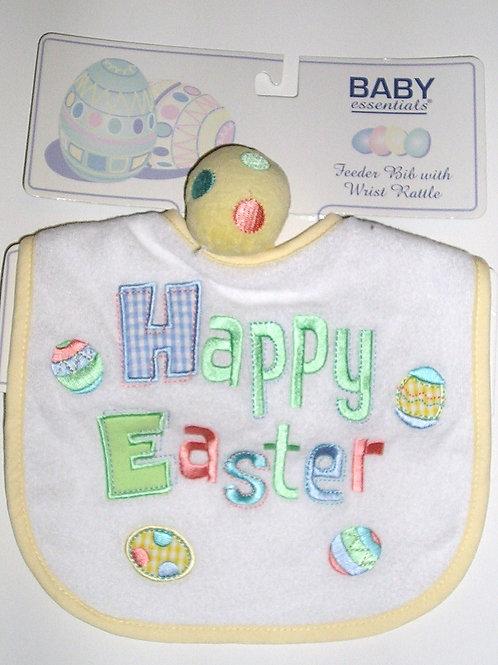 Baby Essentials bib/rattle Easter motif