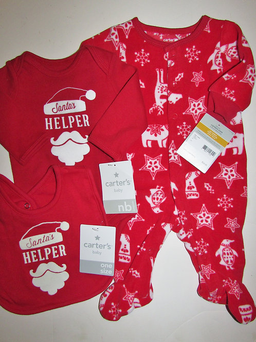 Carters 3 pc set red/white Santa's helper size N