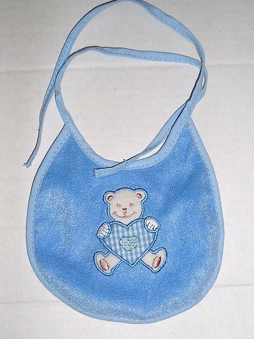 doll bib blue/plastic backing