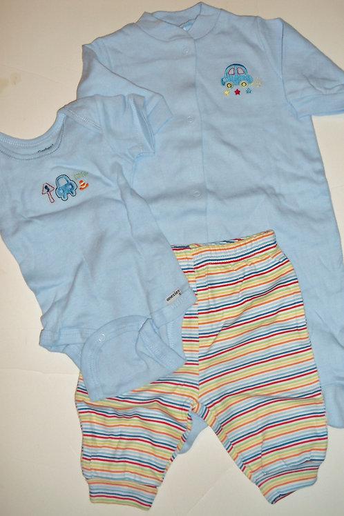 Gerber 3 pc set blue/stripes cars Newborn