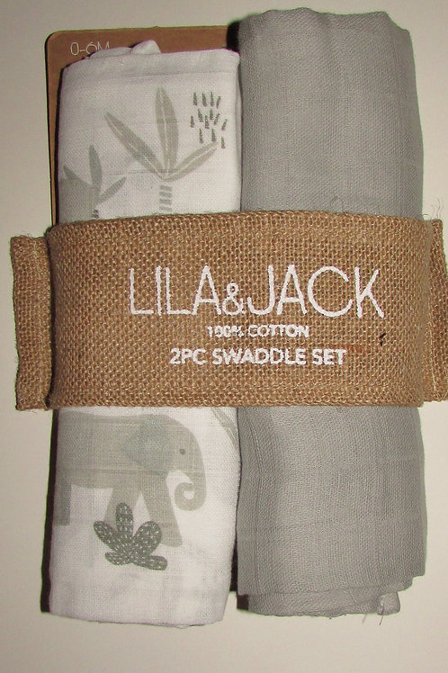 Lila and Jack 2 blankets gray/jungle