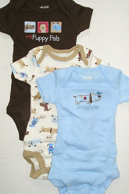Carters set of 3 creepers white/blue/brown Newborn