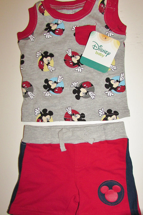 Disney 2 pc set gray/red/navy Micky Mouse motif size N