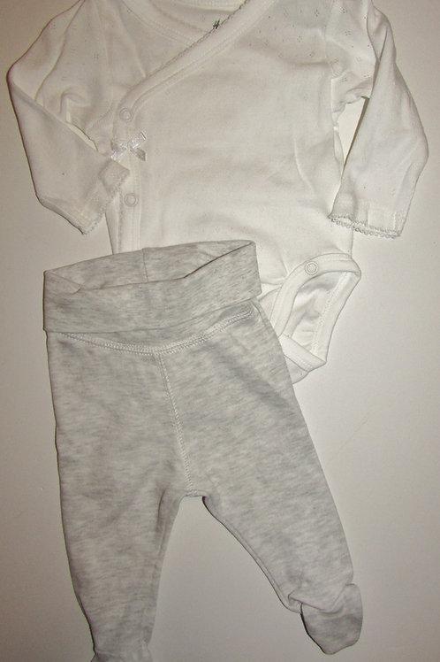 H & M 2 pc set white/gray  size LP/SN