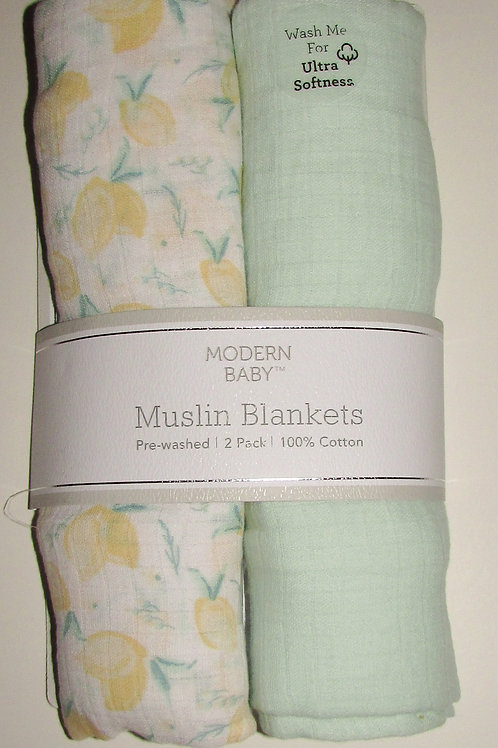Modern Baby 2 blankets green/white