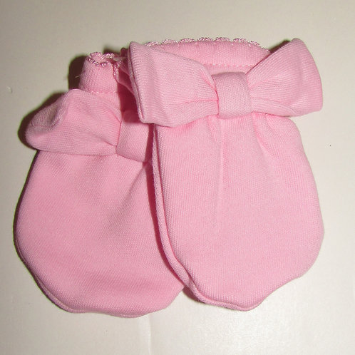 Gerber mitts pink/bow 0-6 mos