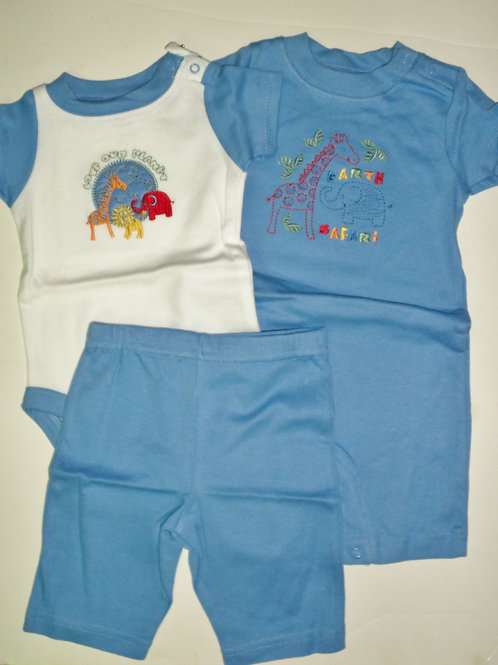 Gerber 3 pc set blue/white/zoo Newborn