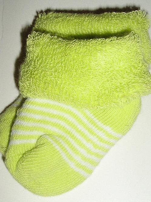 Carters terry cuffed socks green/stripes size N