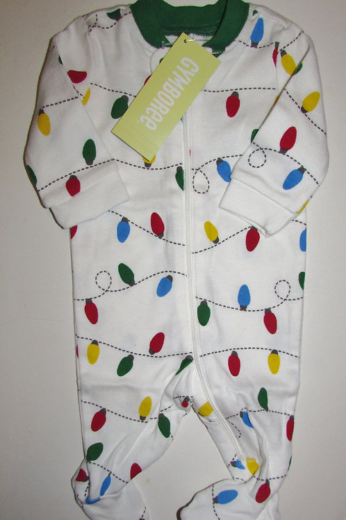Gymboree sleeper white/holiday light motif size N