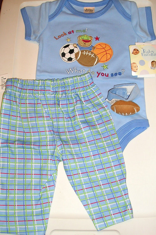 Baby Essentials 3 pc set with rattle size 0-3 mos