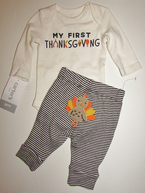 Carters white/brown Thanks size P