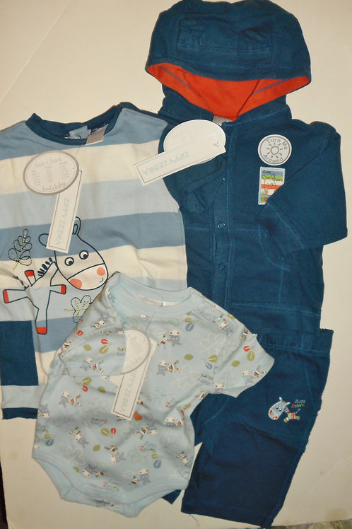 Koala Baby 4 pc set navy.stripes/zebra 0-3 mos