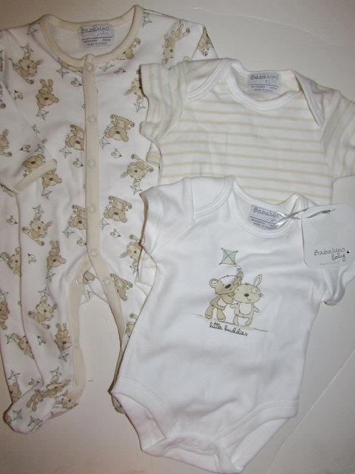 Babaluno Baby 4 pc set cream/teddies LN