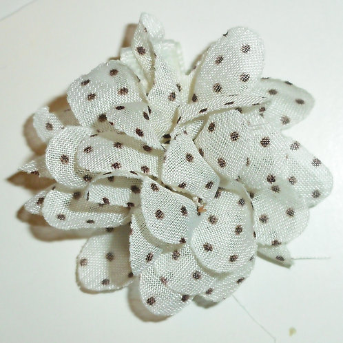 Gold Bug barrette clip with white/brown flower