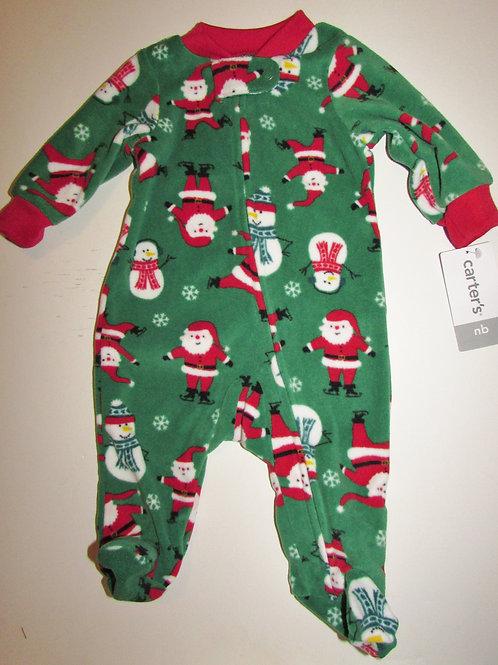 Carters sleeper green/Santa motif size N