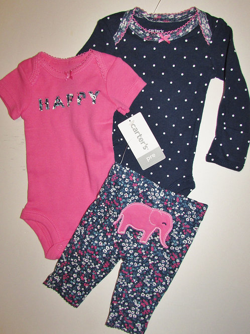 Carters set pink/navy/ele size P