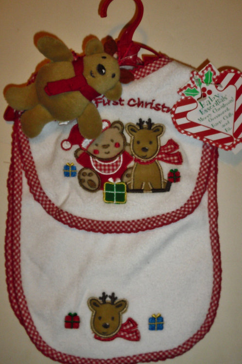 Baby Essentials 3 pc bib/deer set Xmas one size