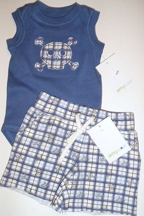 Amy Coe 2 pc set blue/plaid/skull Newborn
