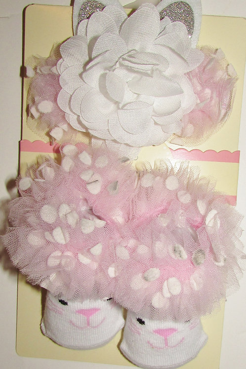 Baby Essentials pink/white bunny motif size 0-6 mo