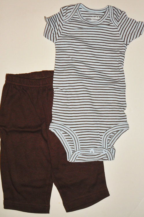 Child of Mine 2 pc set brown/striped 0-3 mos
