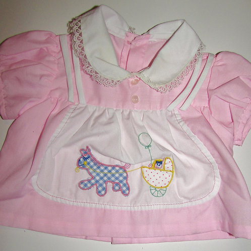 No brand used/vintage dress pink/white size 0-3 mo