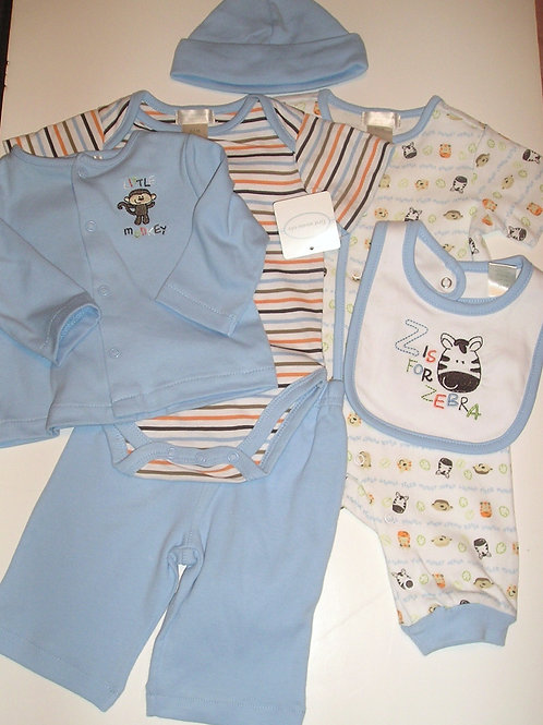 First Moments 6 pc set blue/white/zoo 0-3 mos