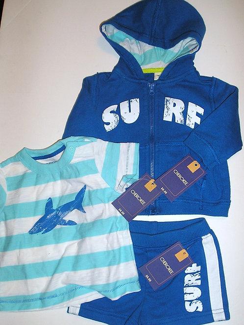 Cherokee 3 pc set blue/shark size large Newborn