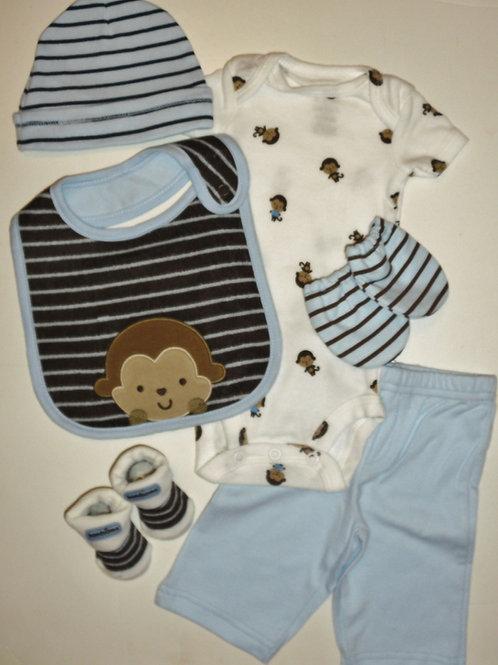 Child of Mine 6 pc set white/blue/monkeys Newborn