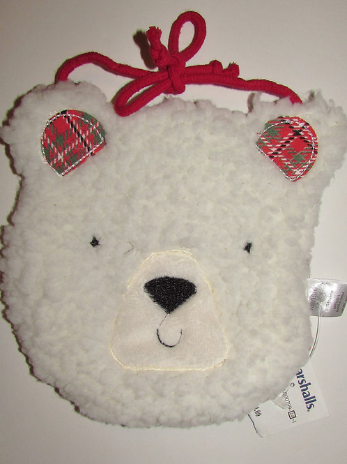 Kensie Baby bib flc cream/plaid Bear motif