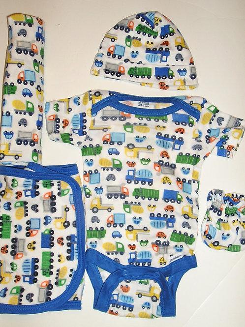 Gerber 5 pc set white/blue/cars Newborn