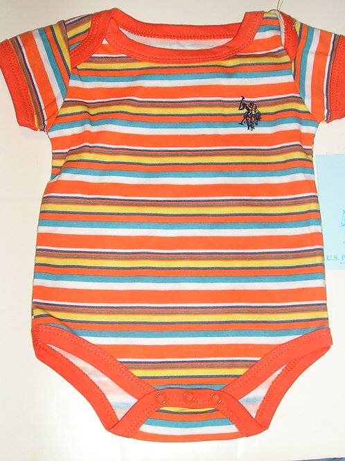 Polo creeper orange/stripe 0-3 mos