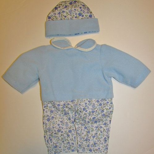 doll outfit 2 pc velour blue/floral