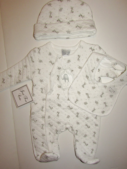 Just two cute 3 pc set white/quilted zoo motif size N