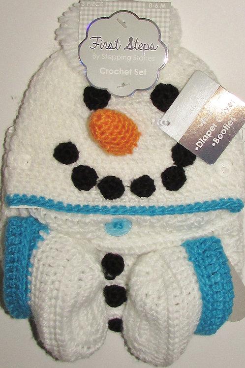 First Steps  crochet Snowman 0-6 mo