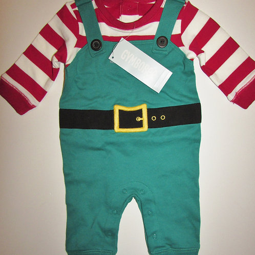 Gymboree coverall elf red/green size 0-3 mo