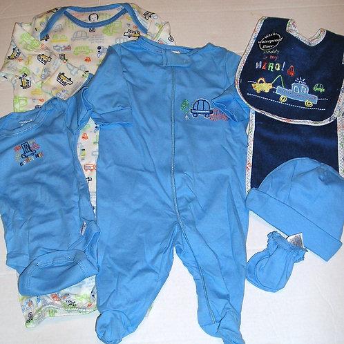 Gerber 7 pc set blue/white/navy/cars Newborn