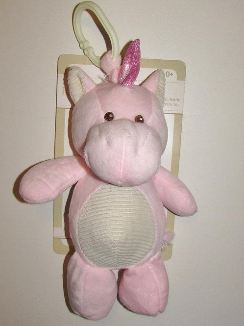 Kelly Baby plush pink unicorn rattles/clip
