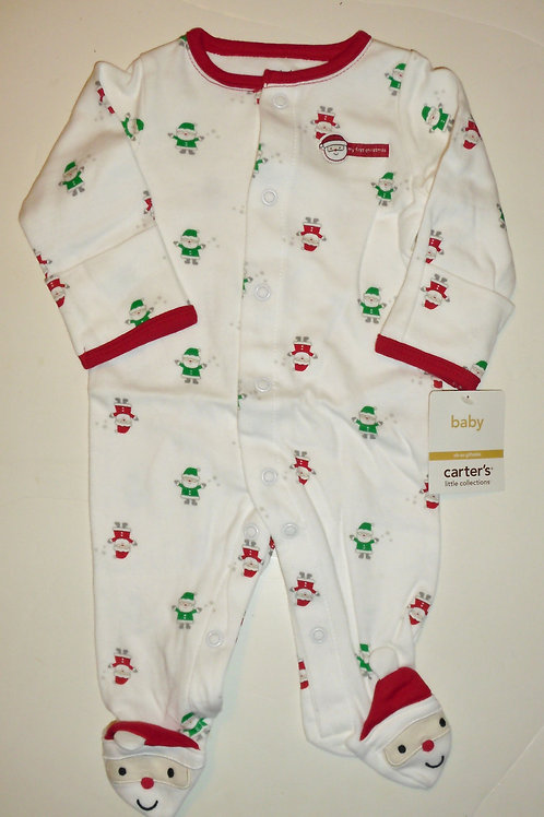 Carters sleeper white/red/Santa size N