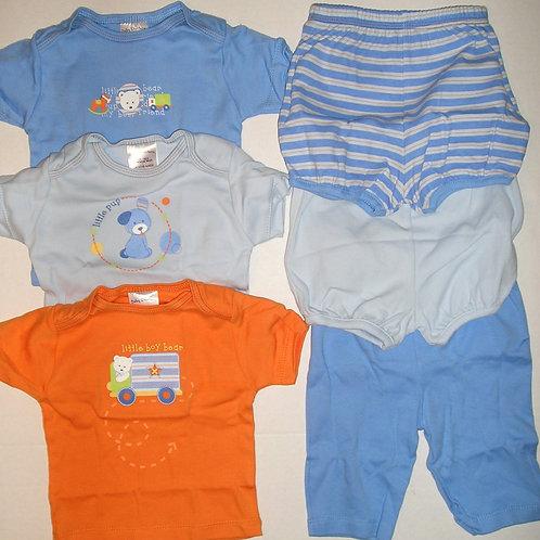 Baby Starters 6 pc set blue/orange 0-6 mos