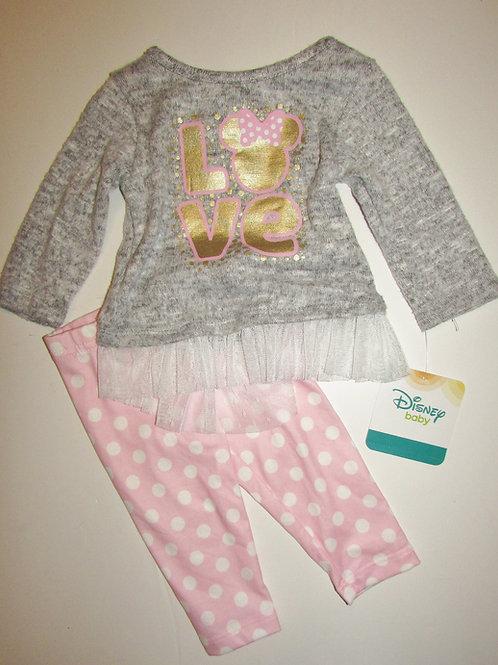Disney gray/pink Minnie size 0-3 mos